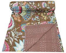 Indian Handmade Cotton Mukat Print Kantha Quilt Bedspread Bed Cover Blanket