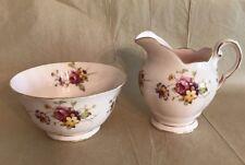 Vintage Porcelain Creamer & Open Sugar Bowl Set Pink Floral Royal Tuscan England