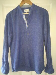 lindbergh White Linen Shirt Popover Collarless Large Blue
