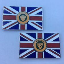 Pair of CATERHAM SUPER 7 Union Jack GB Enamel Classic Car Badges - Self Adhesive