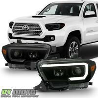 Black Smoked LED DRL Sequential Headlights For 2016-2019 Toyota Tacoma W/O DRL