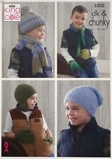 KNITTING PATTERN Childrens Hats Scarves Mittens Gloves Chunky DK King Cole 5202