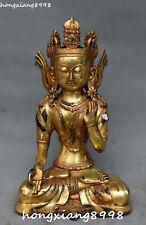 Tibet Buddhism Bronze Gold Gild Green Tara Mahayana Kwan-yin Tara Buddha Statue