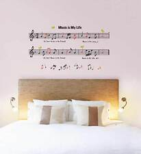 Wandtattoo Musik Wandsticker Music is my Life Notenschlüssel Noten Wanddeko