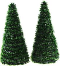 Set Of 2 Free Standing Green Craft Christmas Trees - Add Decorations or Personal