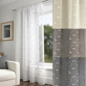 Harrogate Embroidered Leaf Design Curtain Slot Top Voile Panel - Single Panel