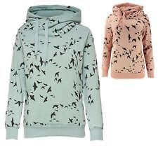 ONLY Damen Sweatshirt Sweat Pullover Schwalben Vögel Hoodie Kapuze grün rosa NEU