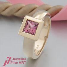 Farbedelstein-Ring mit 1 Turmalin pink -massiv- 14K/585 Gelbgold