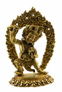 Statue tibétaine Vajrapani Protecteur du Bouddha 95mm cuivre Nepal 25653