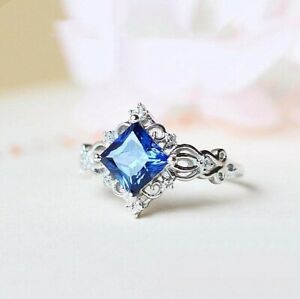 Gorgeous 925 Silver Women Blue Sapphire Rings Wedding Engagement Jewelry Sz 6-10