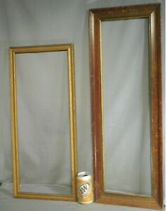 2 Antique Arts Crafts Picture Frame 10x24 NOT Yard Long Skinny Gilt Wood 8x28
