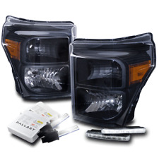 2011-2016 FORD F250 F350 F450 SUPER DUTY HEADLIGHT LAMP BLACK+LED DRL W/HID KIT