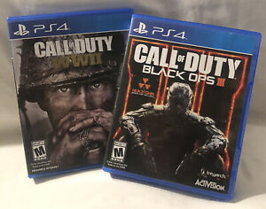 PS4 Call of Duty Game Lot - Black Ops 3 & WW2. Discs & Cases Only - No Manuals.