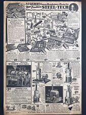 "Vintage 1930 A.C. GILBERT Steel-Tech Erector Sets B&W Print Ad 9x13-1/4"" MWC 298"