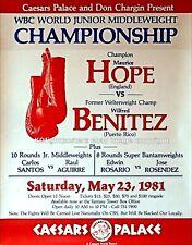 Wilfred Benitez vs. MAURICE espoir/original sur site vintage Boxe Fight Poster