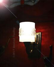 Original Reclaimed French Art Deco bronze scone wall light opaline glass shade
