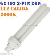 Bombilla Eco G24d3 - PL C 2 pin, 26w, Luz Calida 3000K, bajo consumo downlight