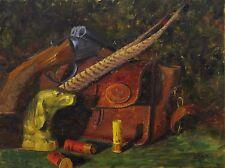 Original Oil Painting English Setter Hunting Still Life Shotgun Dog 18x24 Haigh