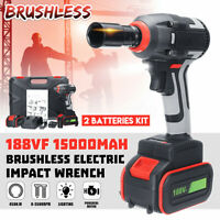 188VF Brushless Electric Cordless Impact Wrench High Torque Drill + 2 x Battery