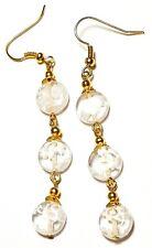 Very Long Gold White Millefiori Earrings Glass Bead Drop Dangle Pierced Hook