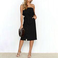 Womens Strappy Button Pocket Holiday Dress Summer Beach Midi Swing Sundress