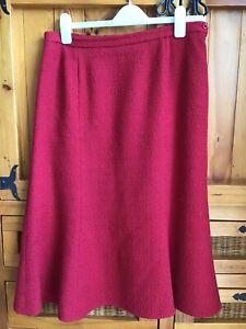 Eastex Midi Wool Blend Skirt Red Size 14