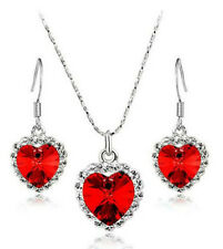 Fashion Jewelry Red Crystal Heart Of Ocean Necklace Earrings Jewelry Set