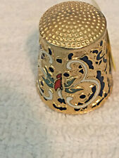 Enamel Cloisonne Brass Thimble - Red, White, Black, Teal Inlay - Free Shipping