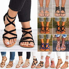 Womens Gladiator Sandals Boho Strappy Summer Beach Flat Shoes Casual Outwear
