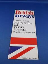 BRITISH AIRWAYS AIRLINE CANADA EUROPE FARES GUIDE TRAVEL PLANNER 1974 ADVERTISE
