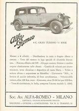PUBBLICITA' 1933 AUTO ALFA ROMEO GRAN TURISMO 6 C. CARATTERISTICHE TECNICHE CAR