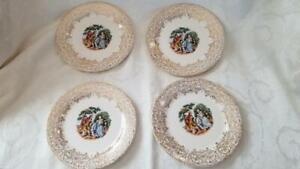 Set of 4 Sebring Chantilly 22Kt Gold Bread Butter / Dessert Plates