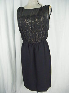 """""""Another Jr. Petite """"Vintage 50-60s Encaje Negro Ilusión Cóctel Dress-Bust 34/"""