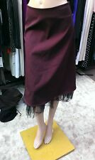 NEW  Lovely Elegant Solid Burgundy Skirt With Black Lace mesh Lined Size S