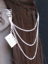 Women Cuff Earring Fashion Silver Cassette Metal Multi Chains Hair Pin Connected