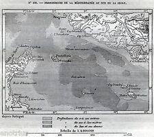 Carta del CANALE DI SICILIA: Malta,Comino,Gozo,Lampedusa,Linosa,Pantelleria.1876