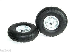 "2 TIRE SET 10"" STEEL AIR PNEUMATIC HAND TRUCK DOLLY WAGON INDUSTRIAL WHEEL"