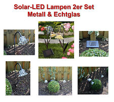 LED Solarlampen 2er Metall & Echtglas,Hochwertig,Gelbe LEDs Neuheit extra Panel!