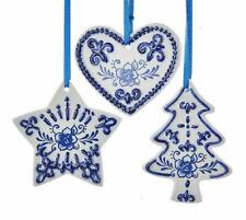 KURT ADLER SET OF 3 PORCELAIN DELFT BLUE HEART/CHRISTMAS TREE/STAR ORNAMENTS