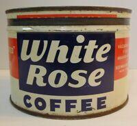 Old Vintage 1950s White Rose Coffee Keywind Coffee TIN CAN 1 POUND New York USA