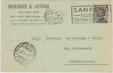 MILANO - BAERLOCHER & LATTUADA 1927 + TARGHETTA SANREMO