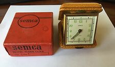 Vintage Semca Ford Steel Division Travel Alarm Clock Germany Leather Case w/ Box