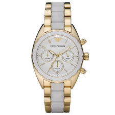 Emporio ARMANI AR5944 SPORTIVO Gold White Chronograph Ladies Watch