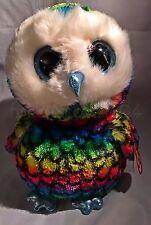 "Aria Ty Beanie Boos Buddy - MWMT - 9"" rainbow colored owl - FREE SHIPPING"