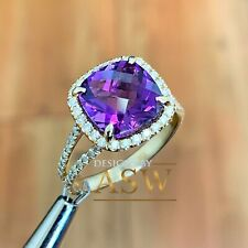 14k yellow gold round cut amethyst and natural diamonds ring halo 4.60ctw