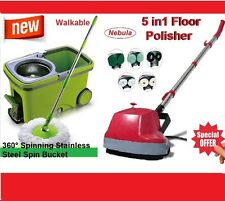New 5 in1 Floor Polisher +360°Spinning Stainless Steel Spin Mop Walkable Bucket*