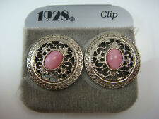 VINTAGE 1980'S PINK CABOCHON SILVER TONE ORNATE CLIP EARRINGS BY 1928