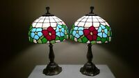 Tiffany-Style Vintage Pair/Slag Stained Glass Shades on LilyPad Base Table Lamps