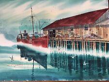 John Yato Ship Dock Seascape 1976 Original Watercolor Painting