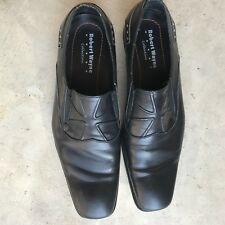 Robert WAYNE Men's Black Shoes Leather Square Toe Stylish Slip On Size 11 Cross